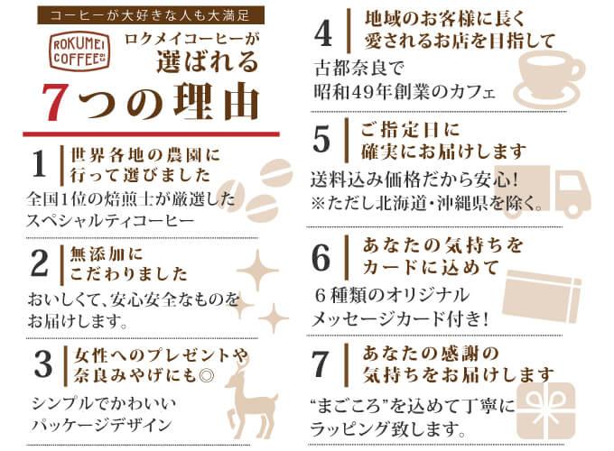 ロクメイコーヒーが選ばれる7つの理由
